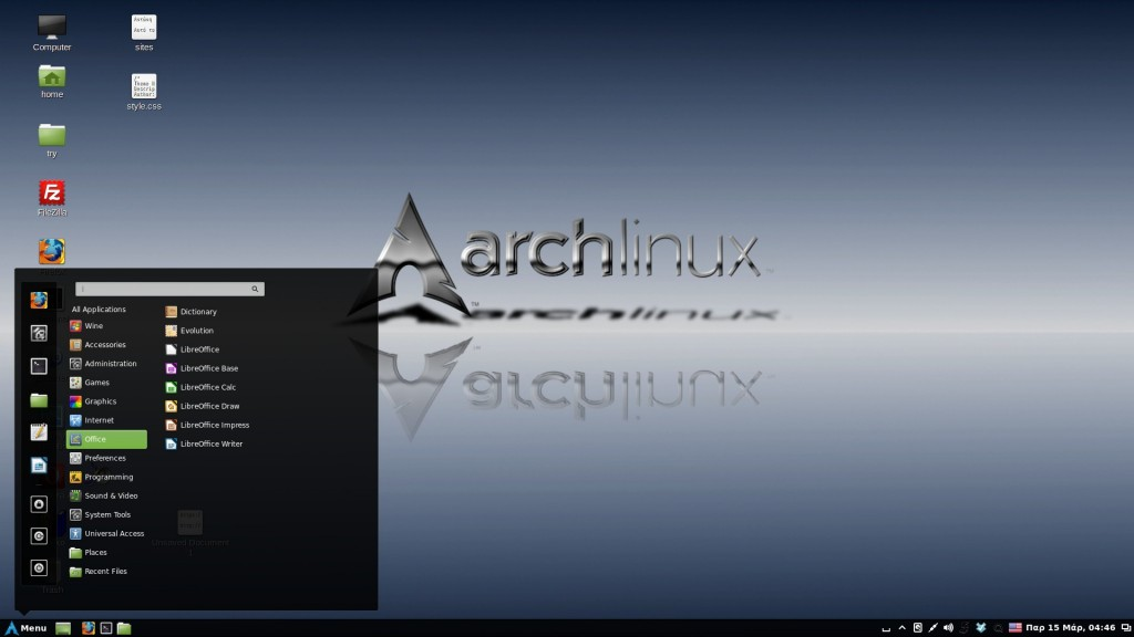 Arch Linux with Cinnamon Desktop Environment